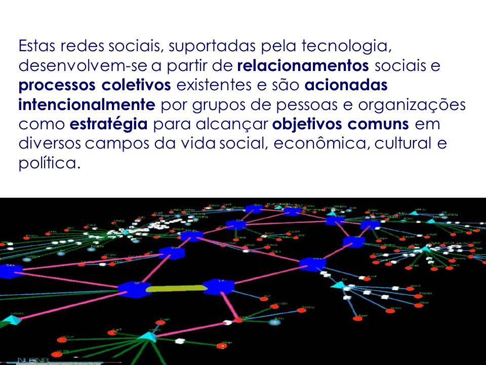 Estas redes sociais, suportadas pela tecnologia, desenvolvem-se a partir de relacionamentos sociais e processos coletivos existentes e são acionadas intencionalmente por grupos de pessoas e organizações como estratégia para alcançar objetivos comuns em diversos campos da vida social, econômica, cultural e política.