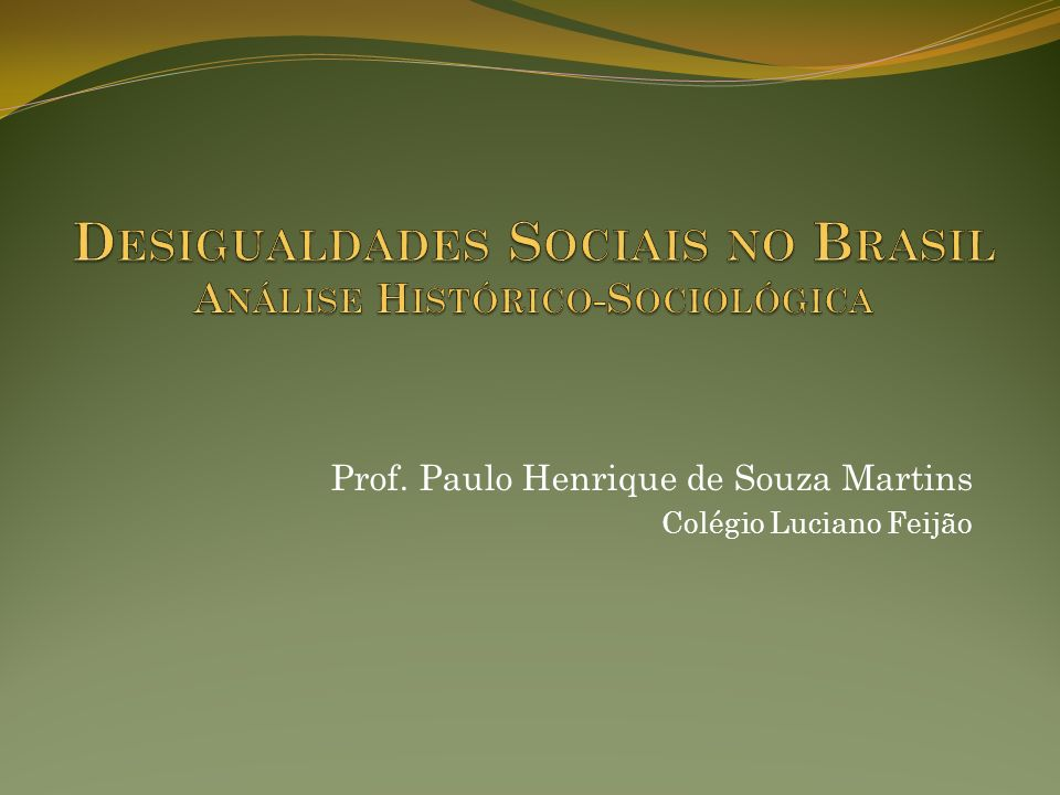 Desigualdades Sociais no Brasil Análise Histórico-Sociológica