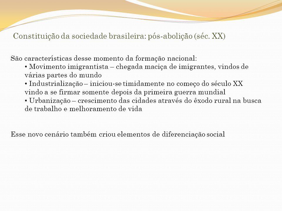 Constituição da sociedade brasileira: pós-abolição (séc. XX)
