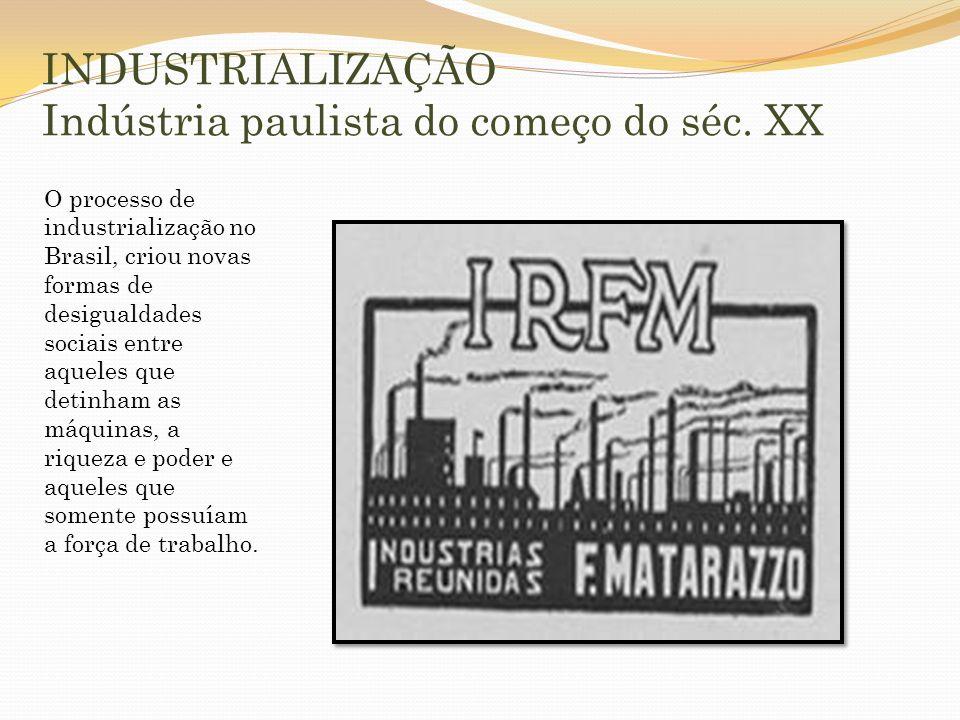 INDUSTRIALIZAÇÃO Indústria paulista do começo do séc. XX