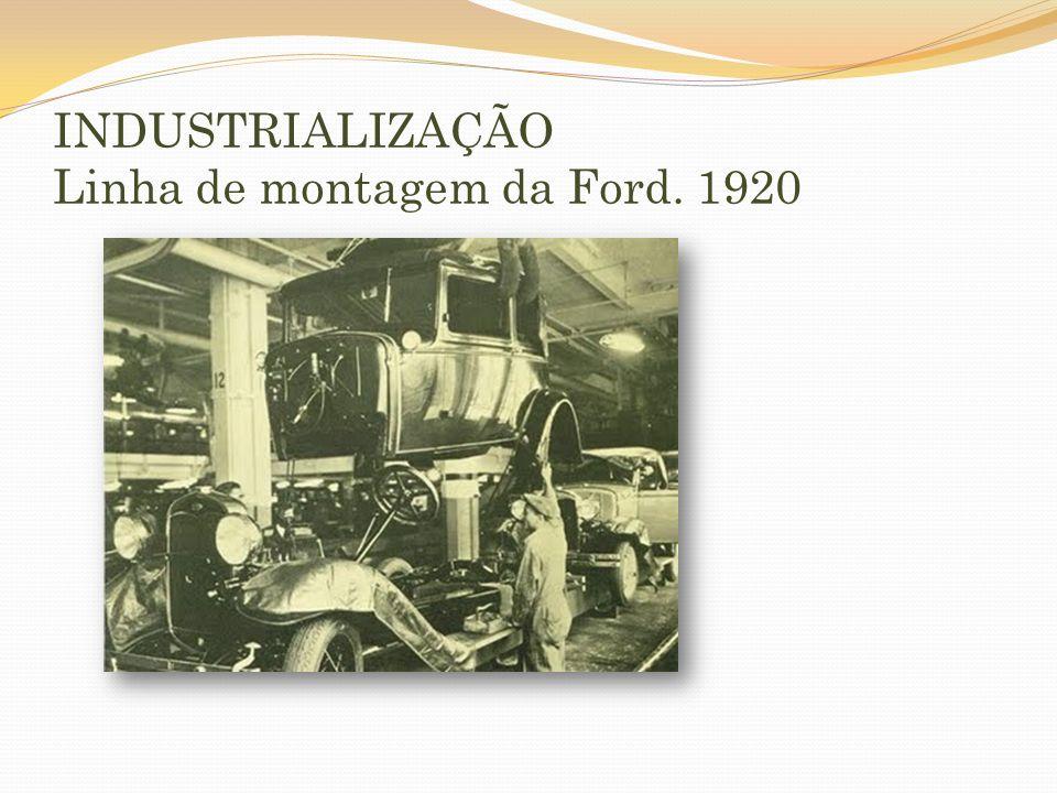 INDUSTRIALIZAÇÃO Linha de montagem da Ford. 1920