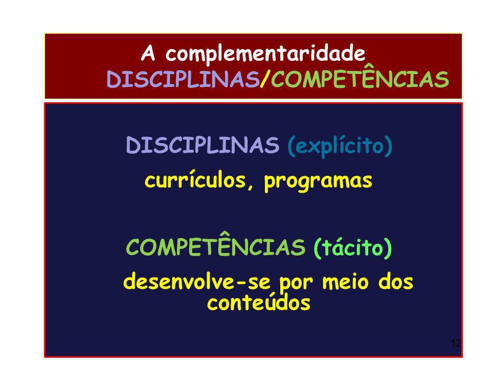 A complementaridade DISCIPLINAS/COMPETÊNCIAS