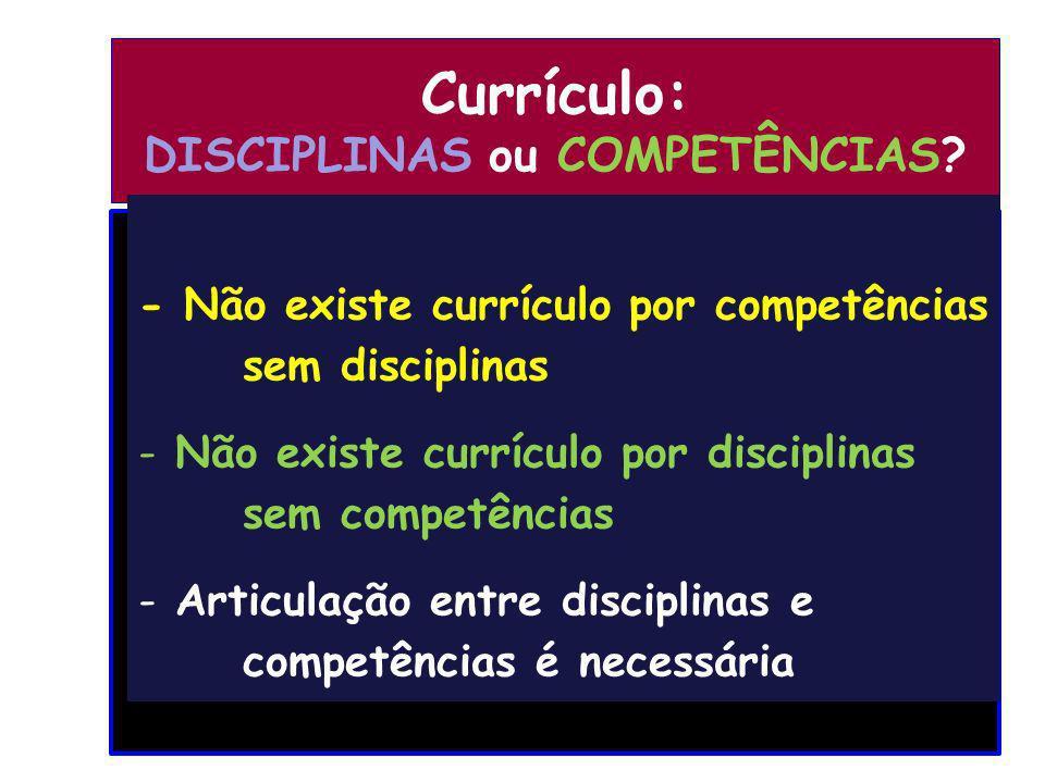 Currículo: DISCIPLINAS ou COMPETÊNCIAS