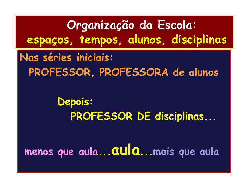 Organização da Escola: espaços, tempos, alunos, disciplinas
