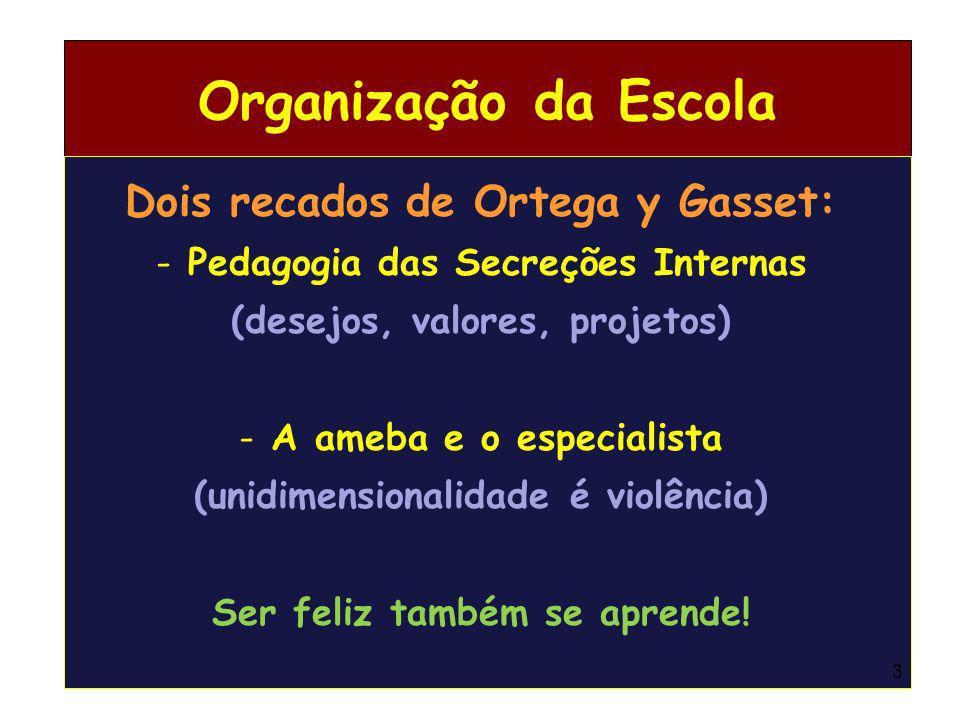 Organização da Escola Dois recados de Ortega y Gasset: