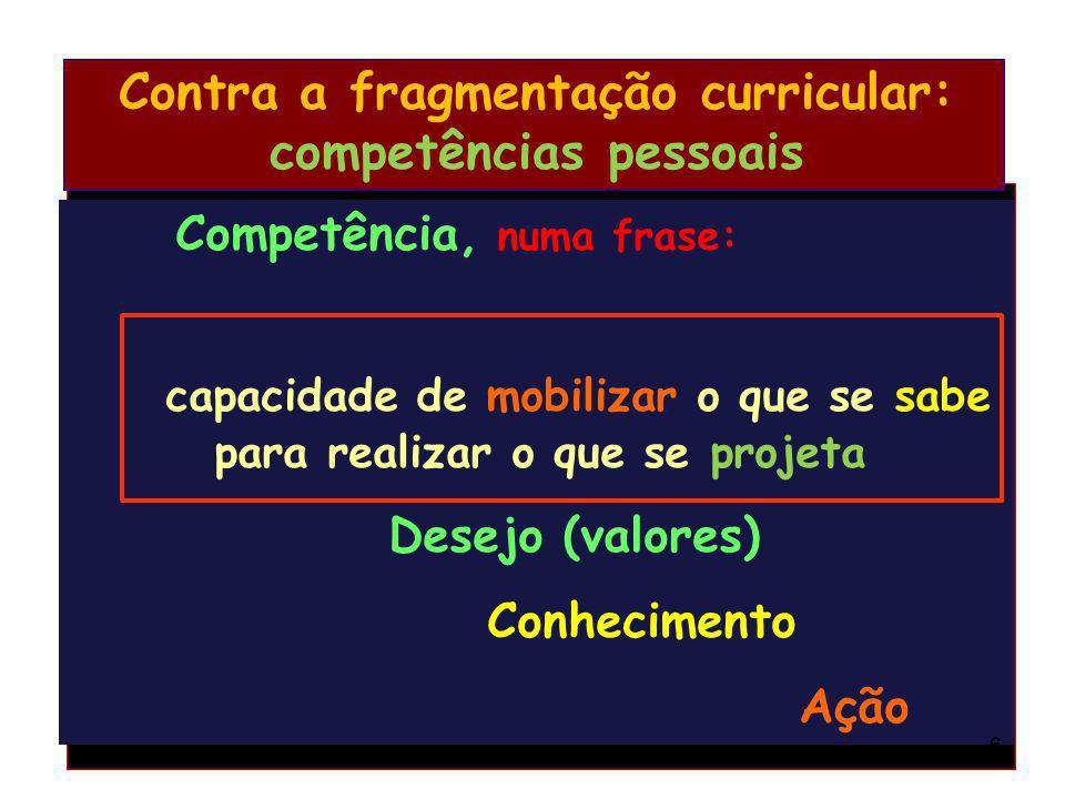 Contra a fragmentação curricular: competências pessoais