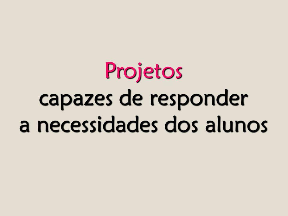 Projetos capazes de responder a necessidades dos alunos