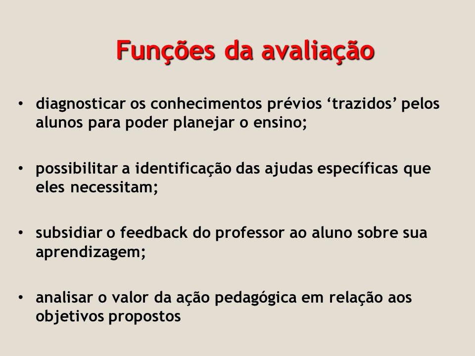 Funções da avaliação diagnosticar os conhecimentos prévios 'trazidos' pelos alunos para poder planejar o ensino;
