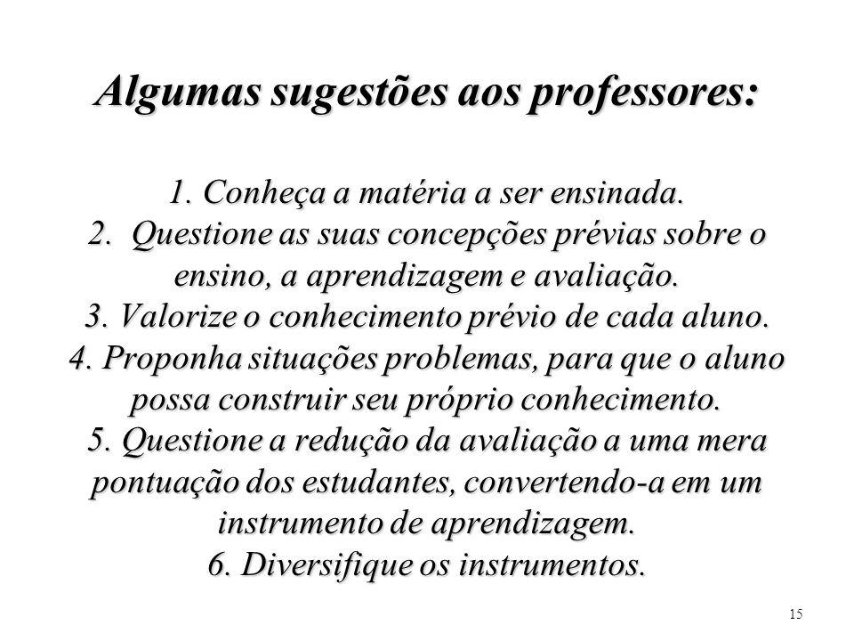 Algumas sugestões aos professores: 1. Conheça a matéria a ser ensinada