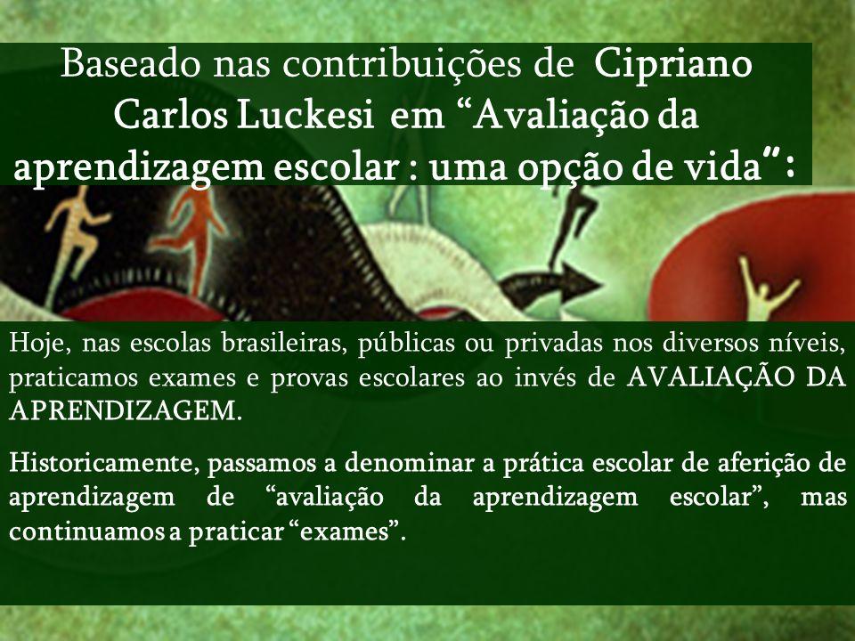 Baseado nas contribuições de Cipriano Carlos Luckesi em Avaliação da aprendizagem escolar : uma opção de vida :