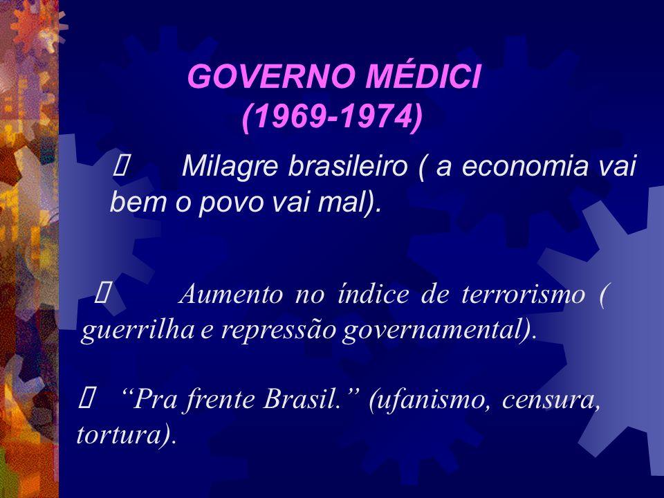 GOVERNO MÉDICI (1969-1974) Ø Milagre brasileiro ( a economia vai bem o povo vai mal).
