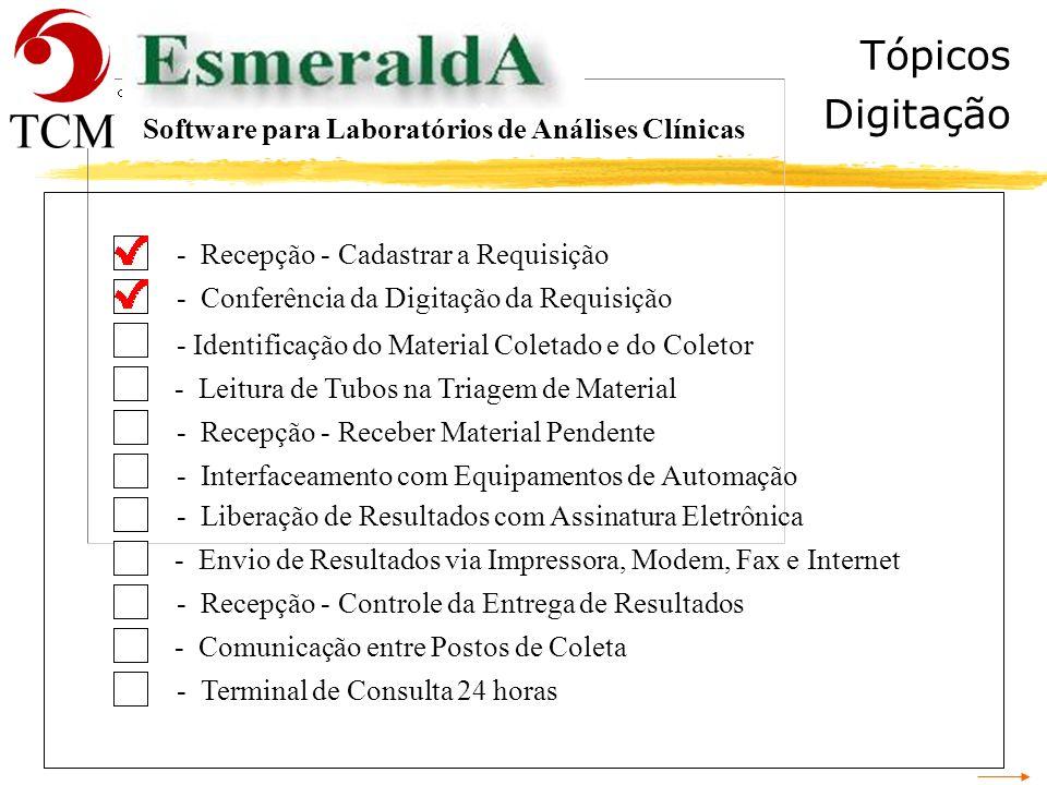 Tópicos Digitação Software para Laboratórios de Análises Clínicas