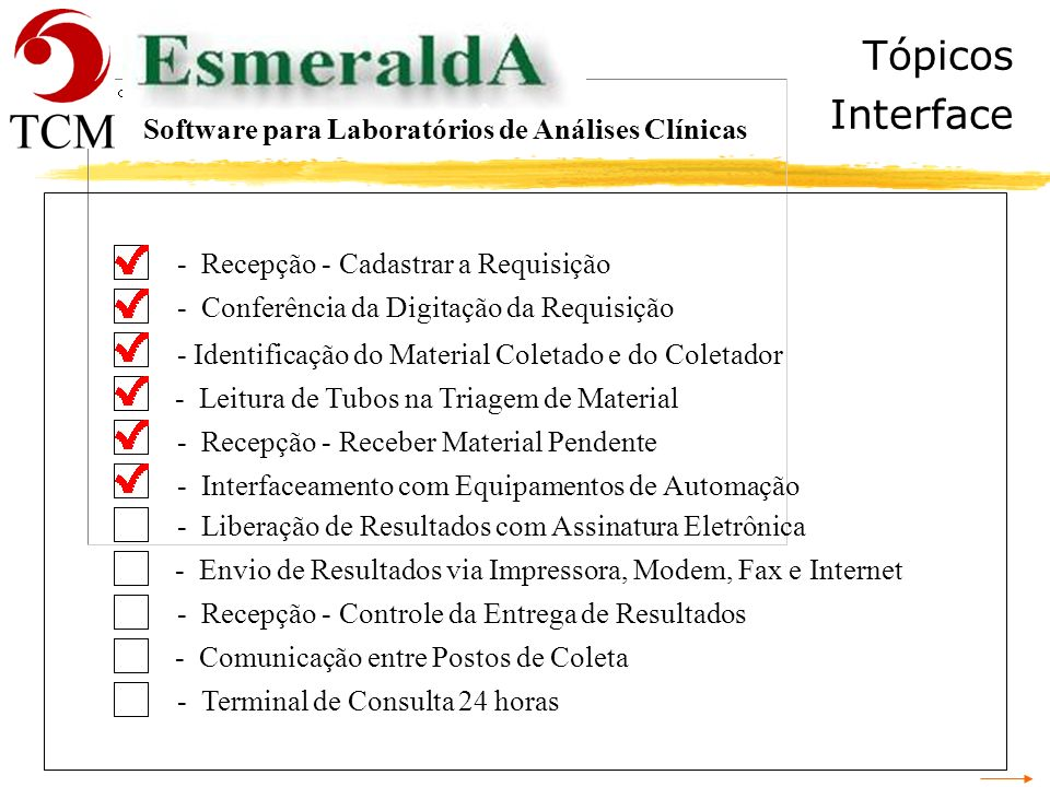 Tópicos Interface Software para Laboratórios de Análises Clínicas