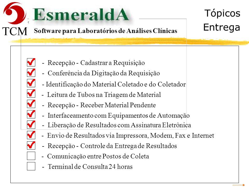 Tópicos Entrega Software para Laboratórios de Análises Clínicas