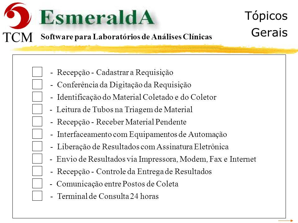 Tópicos Gerais Software para Laboratórios de Análises Clínicas