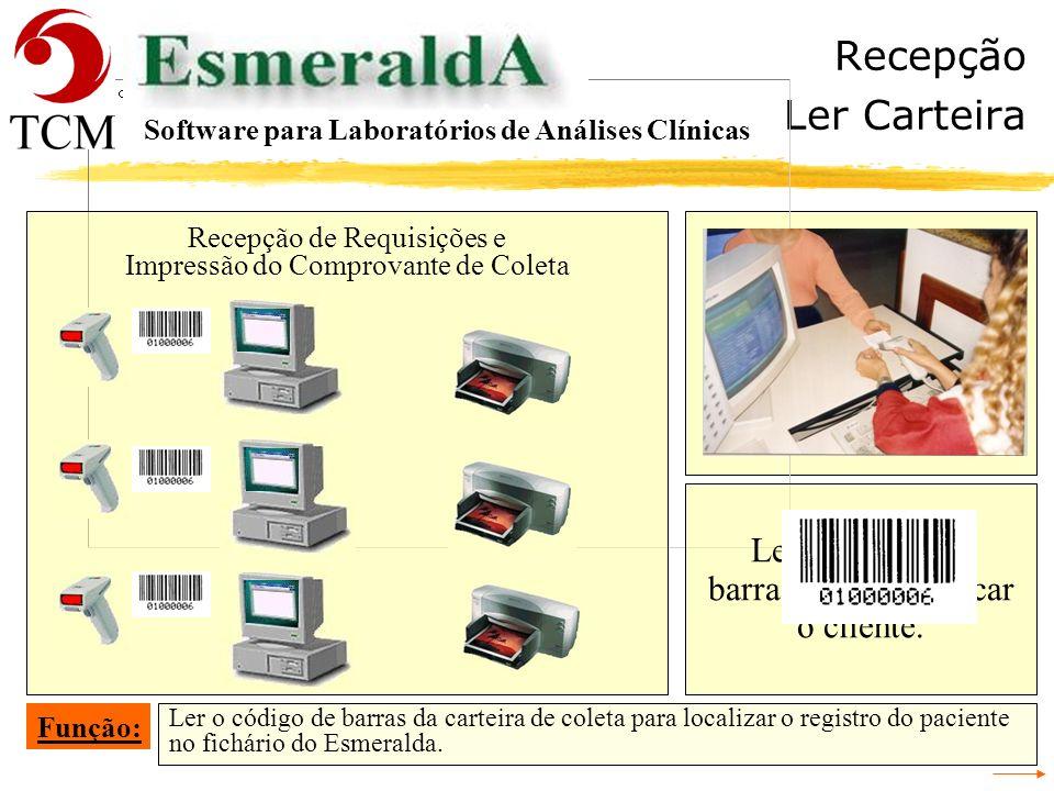 Recepção Ler Carteira Ler o código de barras para identificar