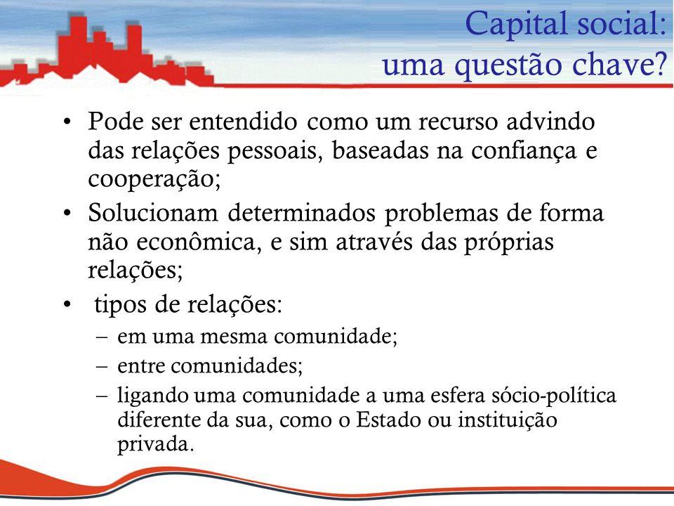 Capital social: uma questão chave