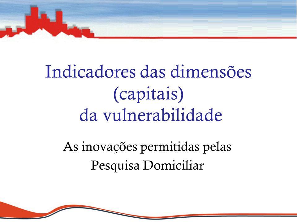 Indicadores das dimensões (capitais) da vulnerabilidade