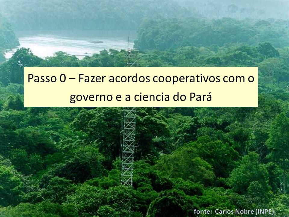 Passo 0 – Fazer acordos cooperativos com o governo e a ciencia do Pará
