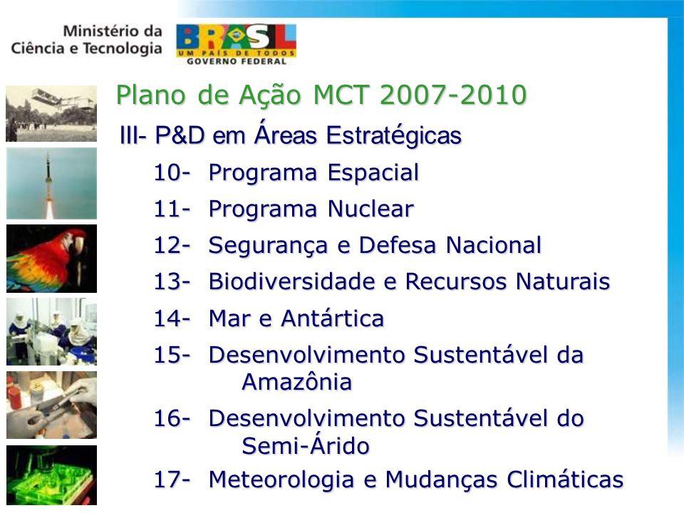 Plano de Ação MCT 2007-2010 III- P&D em Áreas Estratégicas