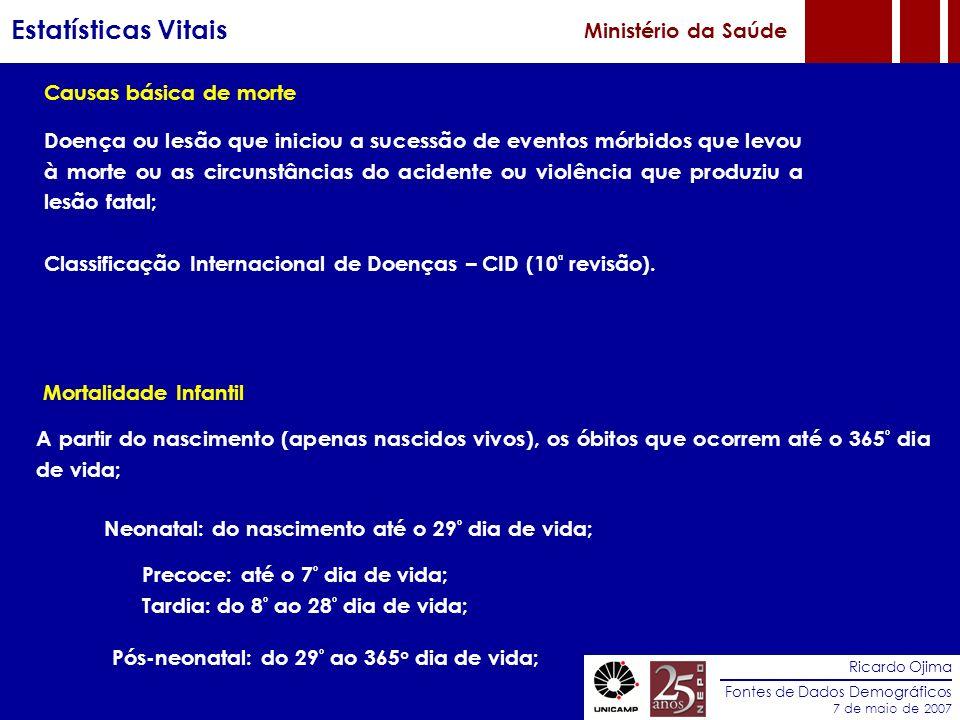 Estatísticas Vitais Ministério da Saúde Causas básica de morte