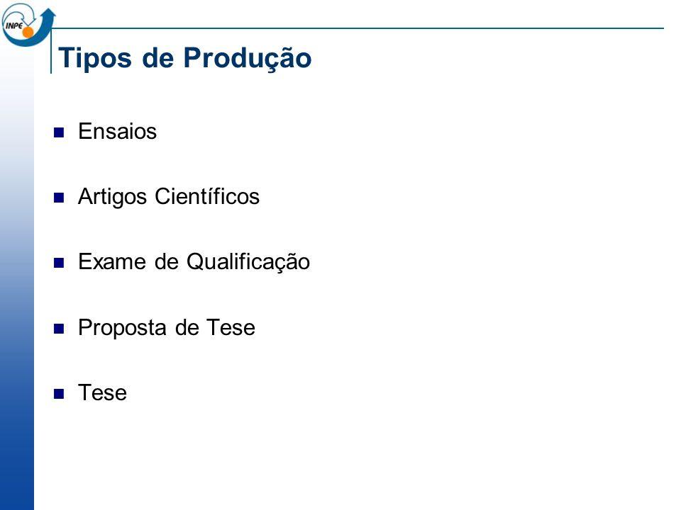 Tipos de Produção Ensaios Artigos Científicos Exame de Qualificação