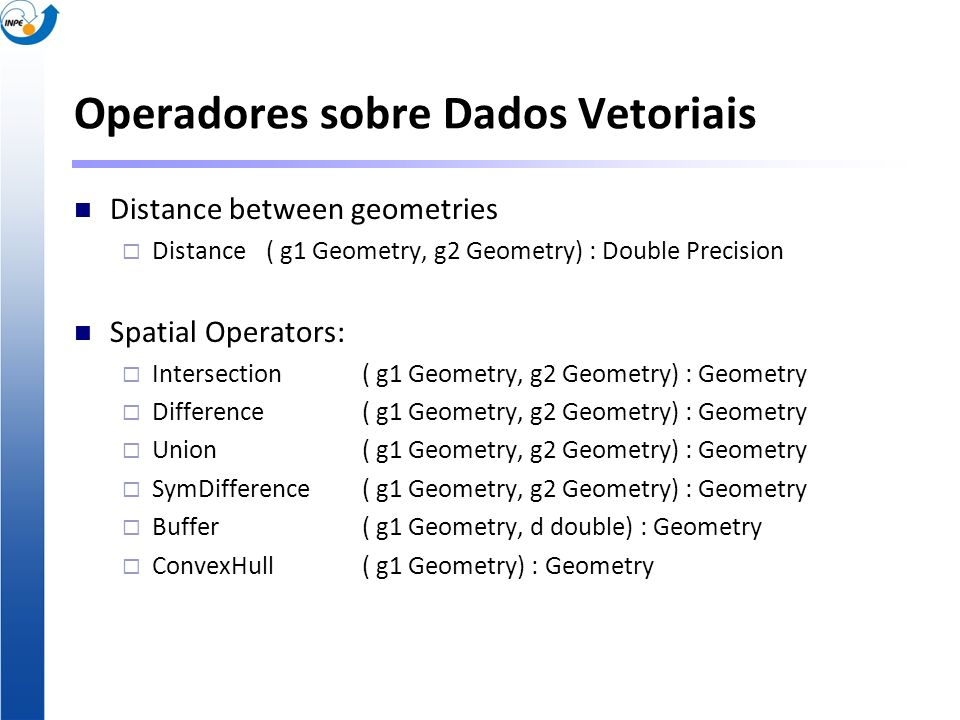 Operadores sobre Dados Vetoriais