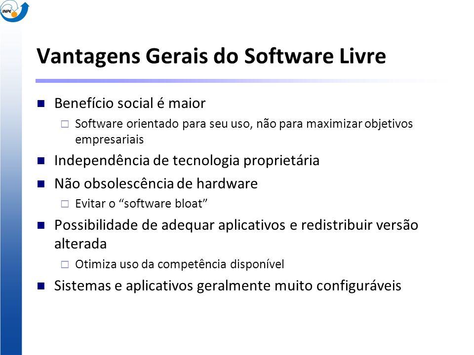 Vantagens Gerais do Software Livre