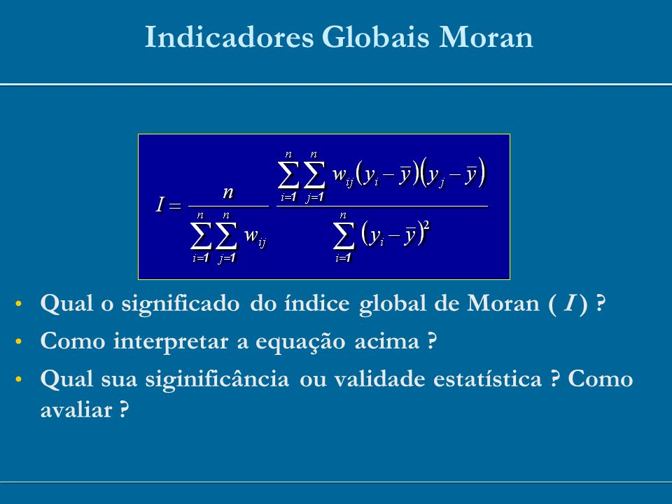 Indicadores Globais Moran
