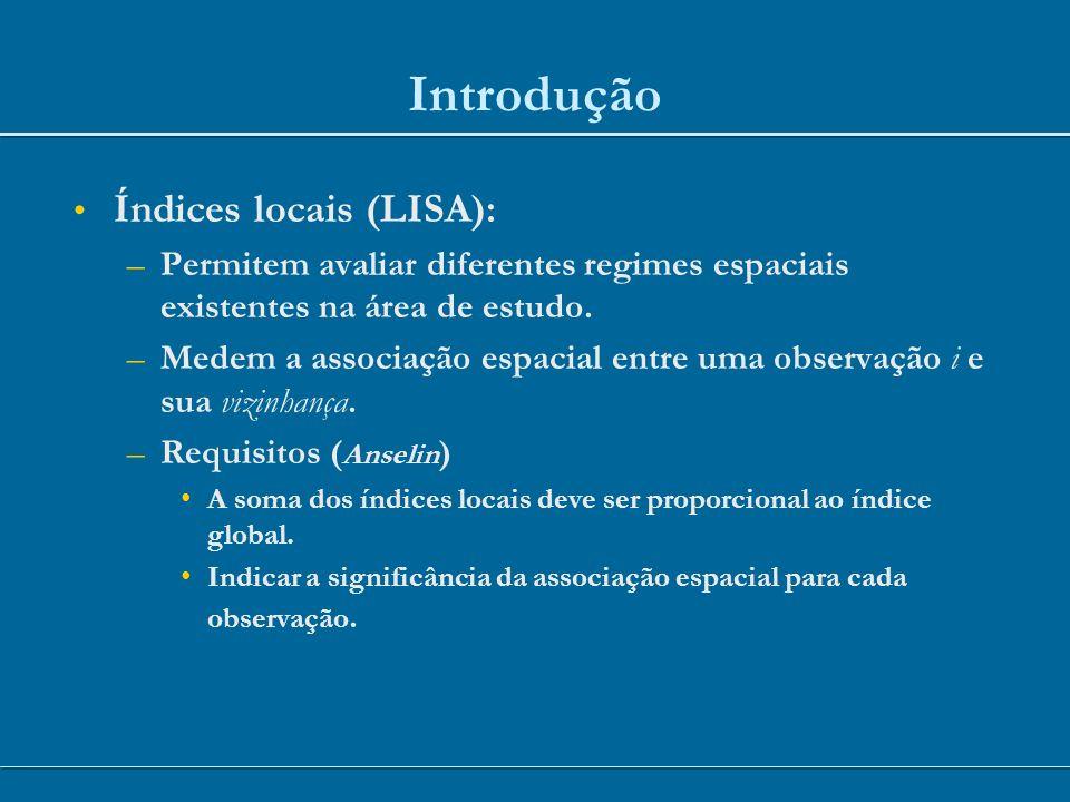 Introdução Índices locais (LISA):