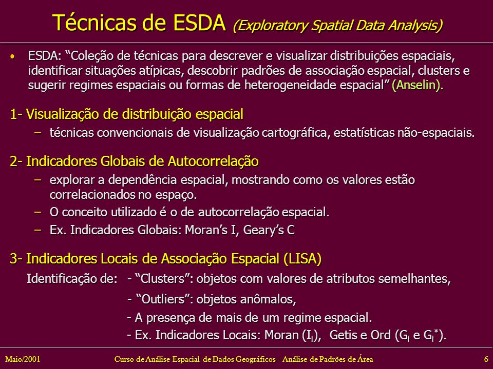 Técnicas de ESDA (Exploratory Spatial Data Analysis)