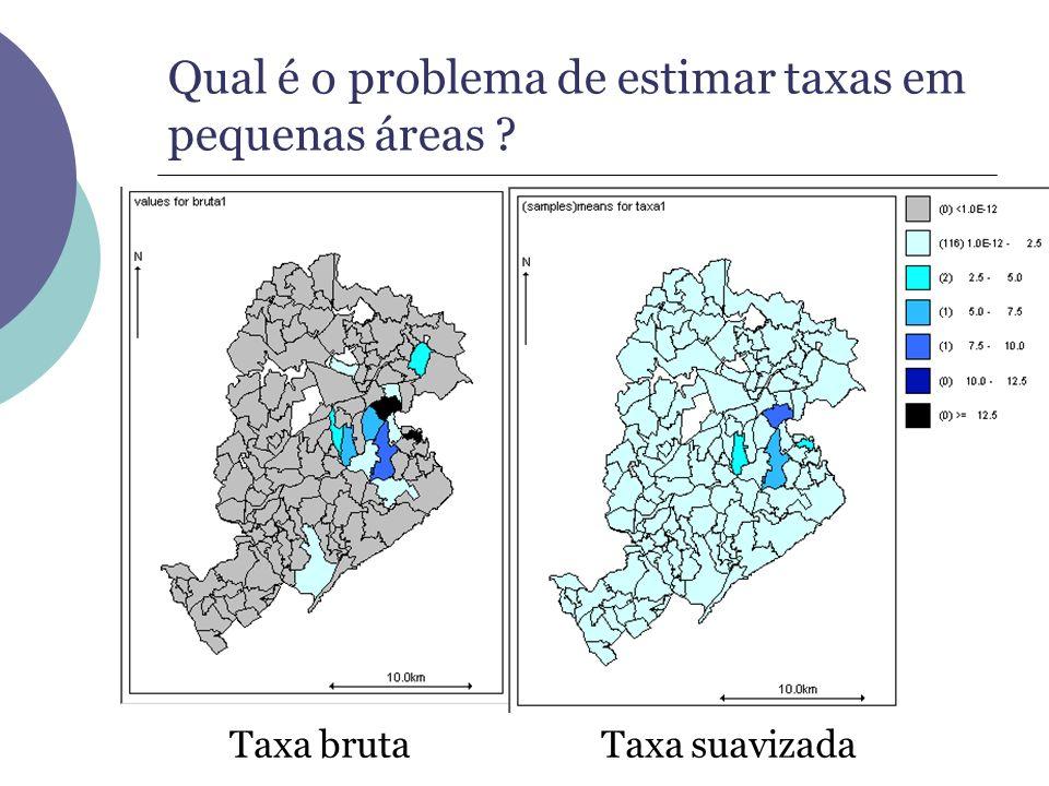 Qual é o problema de estimar taxas em pequenas áreas