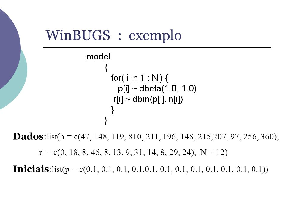 WinBUGS : exemploDados:list(n = c(47, 148, 119, 810, 211, 196, 148, 215,207, 97, 256, 360),
