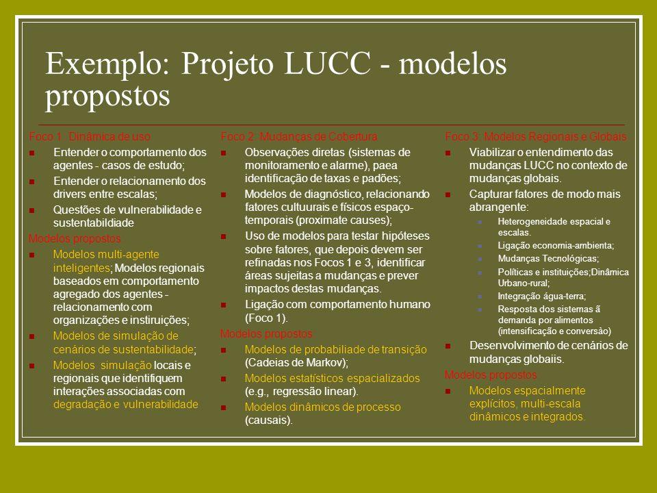 Exemplo: Projeto LUCC - modelos propostos