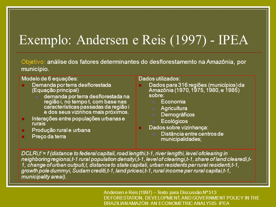 Exemplo: Andersen e Reis (1997) - IPEA