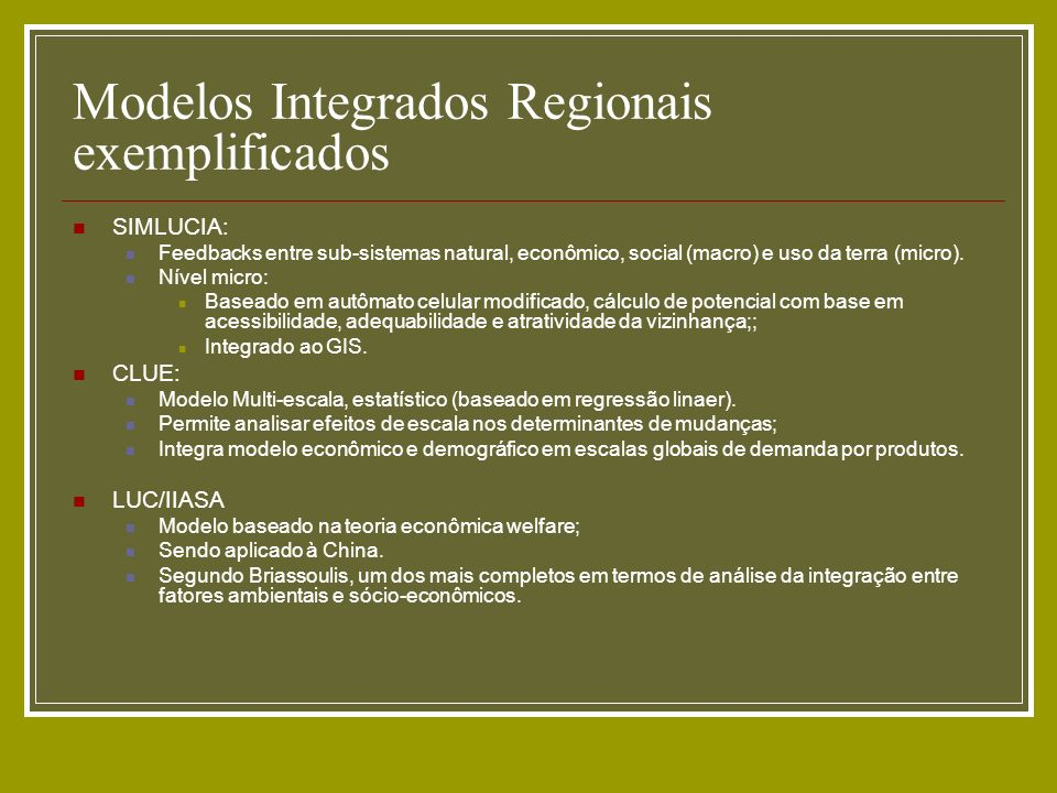 Modelos Integrados Regionais exemplificados