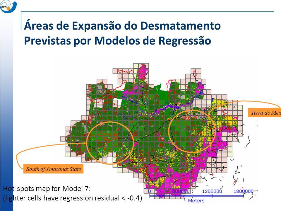 Áreas de Expansão do Desmatamento Previstas por Modelos de Regressão