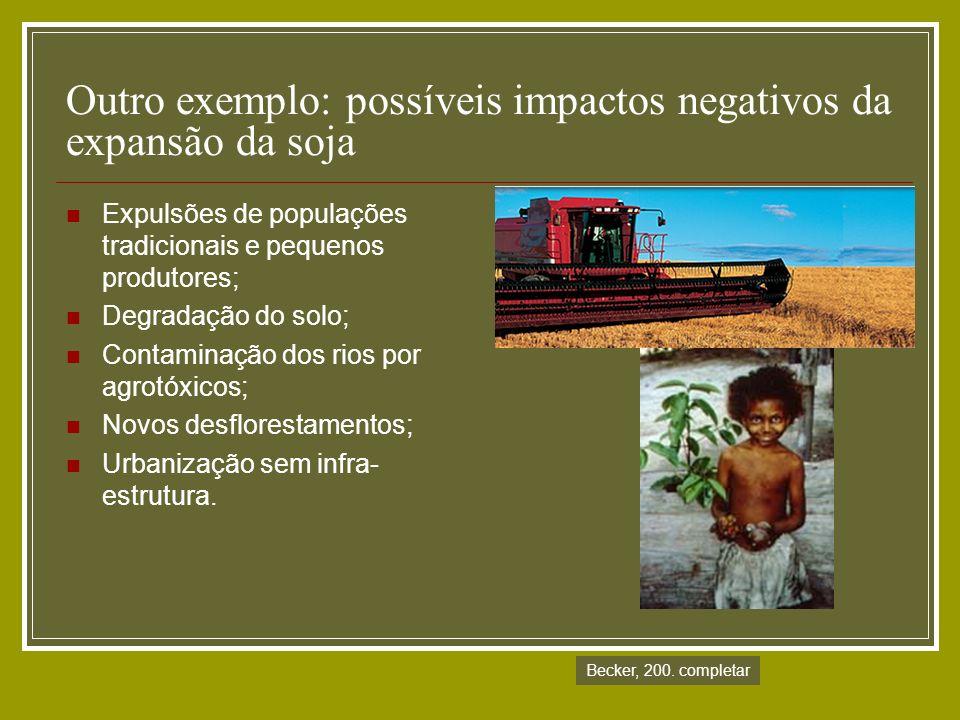 Outro exemplo: possíveis impactos negativos da expansão da soja