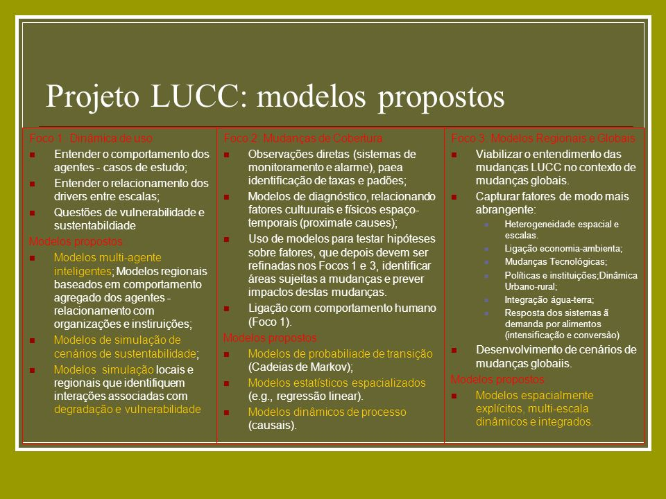 Projeto LUCC: modelos propostos