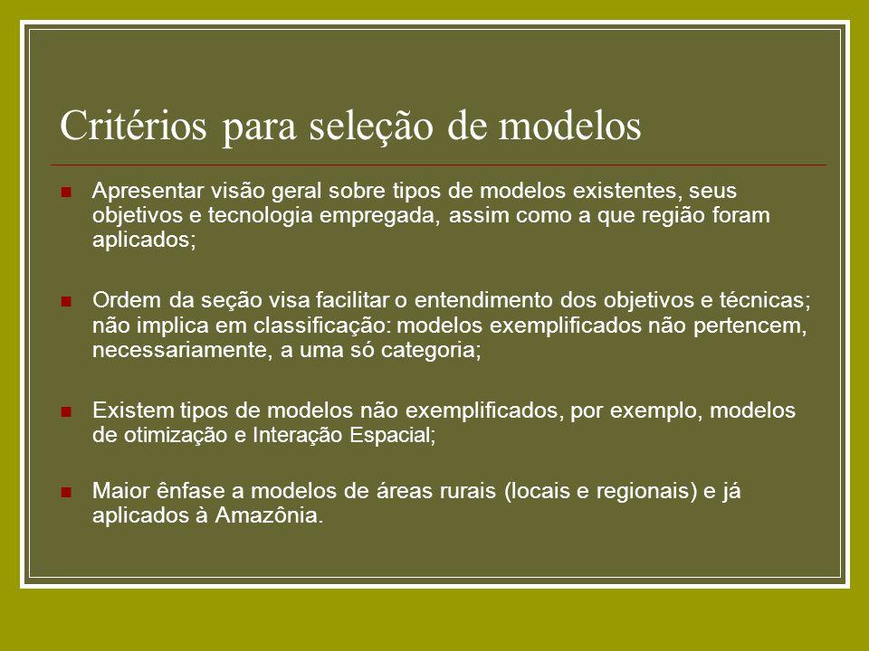 Critérios para seleção de modelos