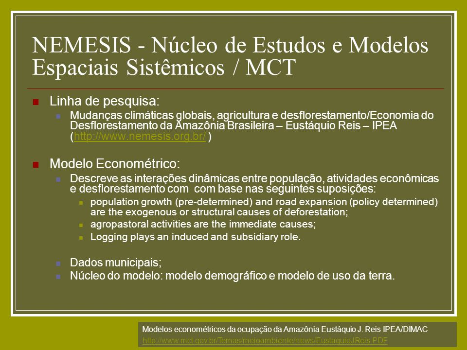 NEMESIS - Núcleo de Estudos e Modelos Espaciais Sistêmicos / MCT