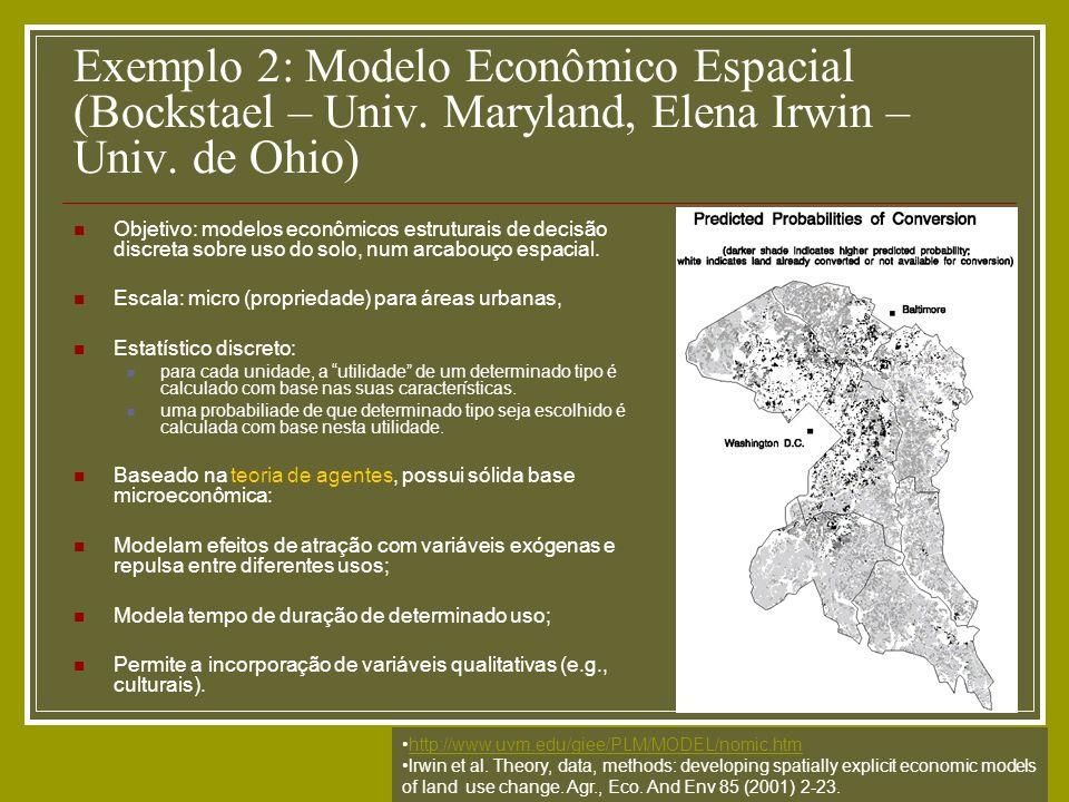 Exemplo 2: Modelo Econômico Espacial (Bockstael – Univ