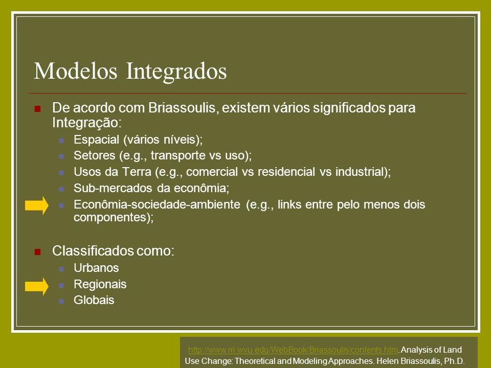 Modelos Integrados De acordo com Briassoulis, existem vários significados para Integração: Espacial (vários níveis);