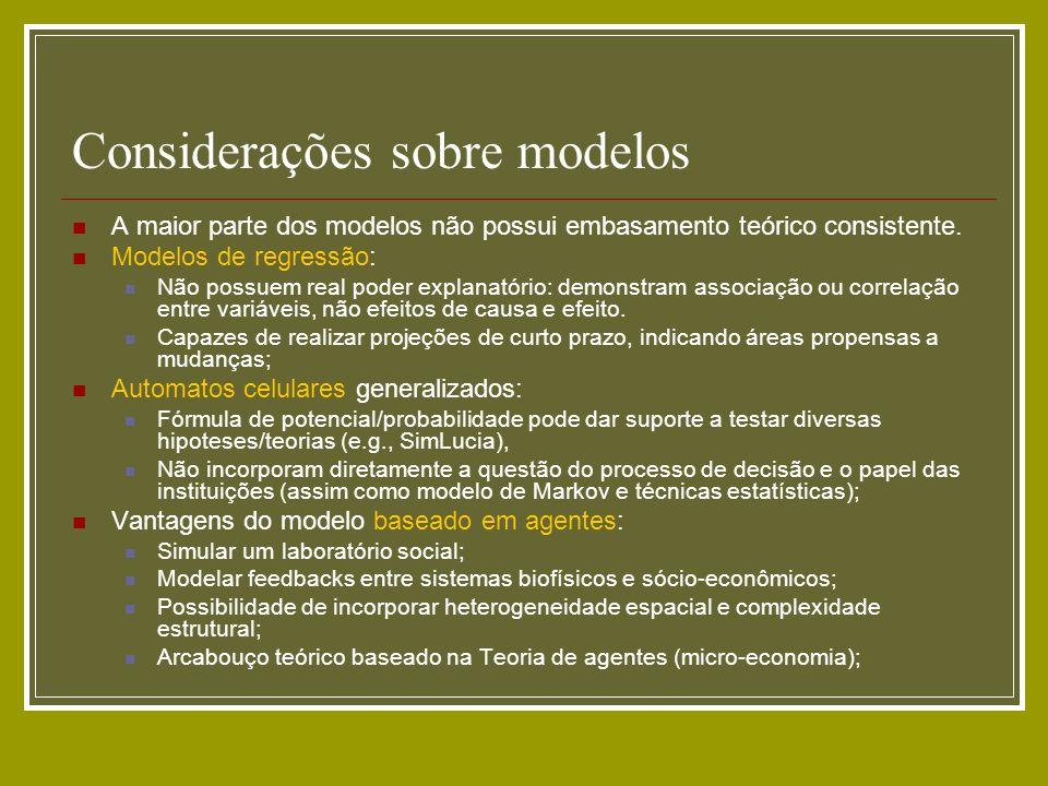 Considerações sobre modelos