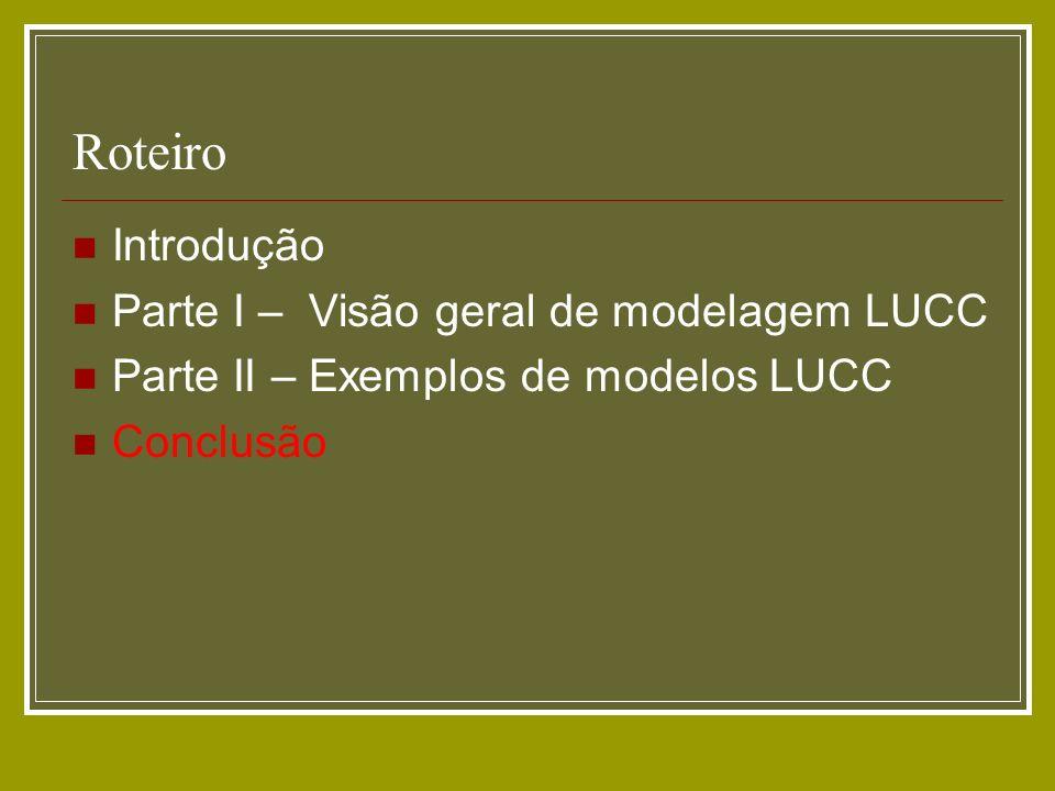 Roteiro Introdução Parte I – Visão geral de modelagem LUCC