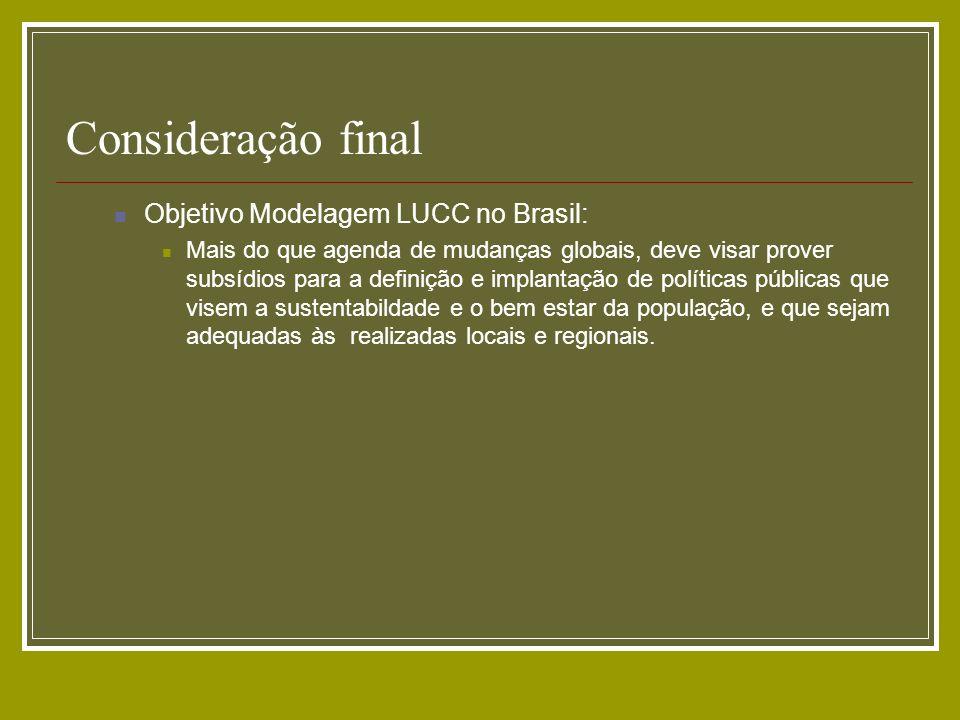 Consideração final Objetivo Modelagem LUCC no Brasil: