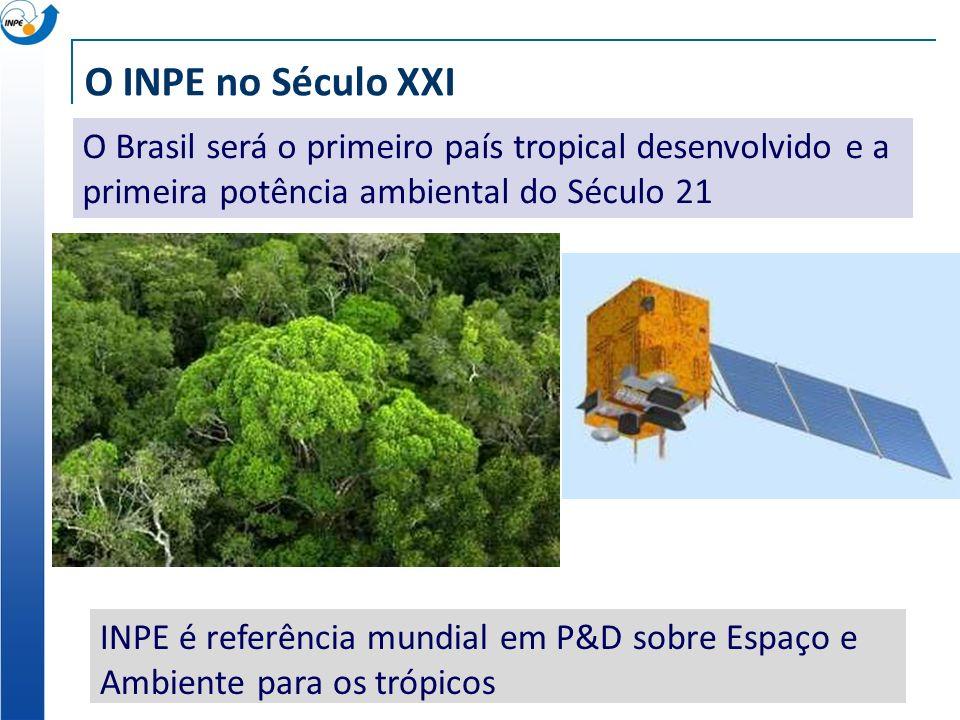 O INPE no Século XXI O Brasil será o primeiro país tropical desenvolvido e a primeira potência ambiental do Século 21.