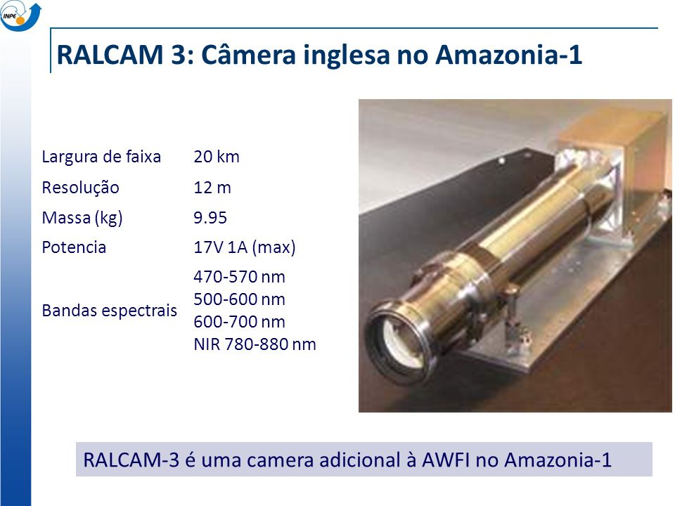 RALCAM 3: Câmera inglesa no Amazonia-1