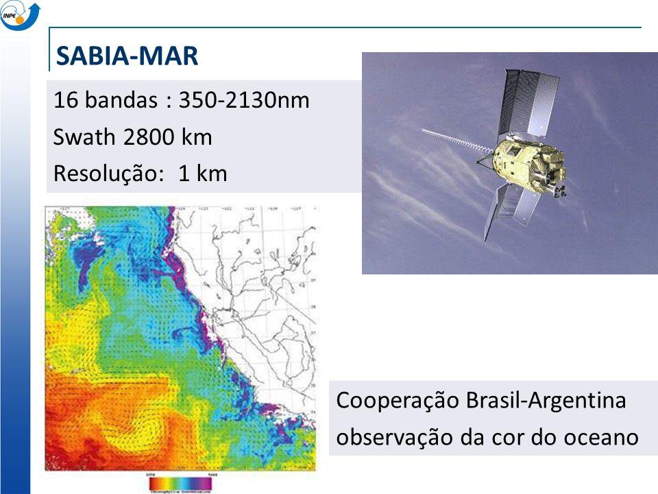 SABIA-MAR 16 bandas : 350-2130nm Swath 2800 km Resolução: 1 km