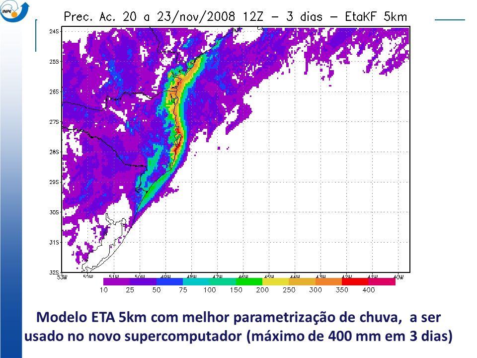 Modelo ETA 5km com melhor parametrização de chuva, a ser usado no novo supercomputador (máximo de 400 mm em 3 dias)
